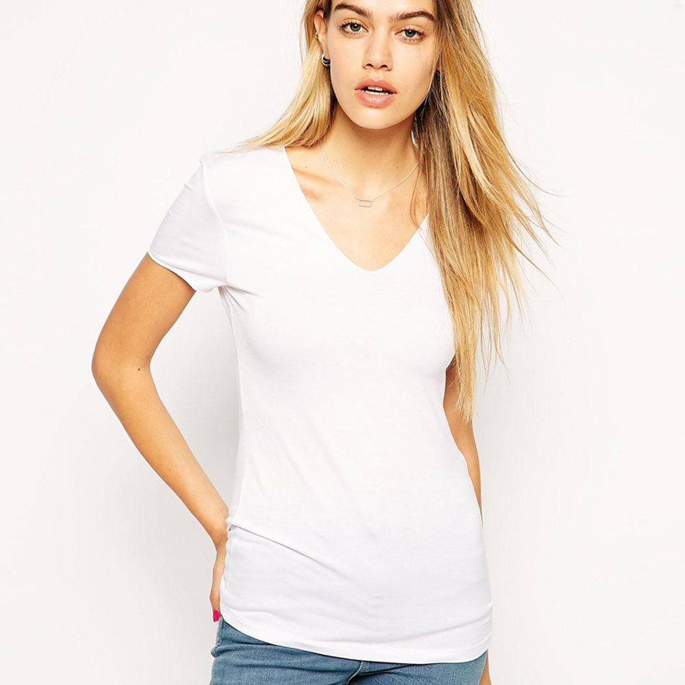 Solid Color Female V Neck Blank T Shirts Short-Sleeve Basic Shirts For Women Wholesale&Retail Youth Shirts(China (Mainland))
