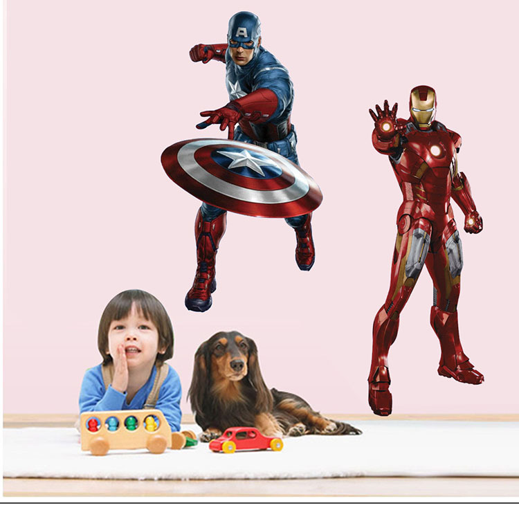 new The Avengers Iron Man 3d wall stickers home decor for kids rooms decor art mural