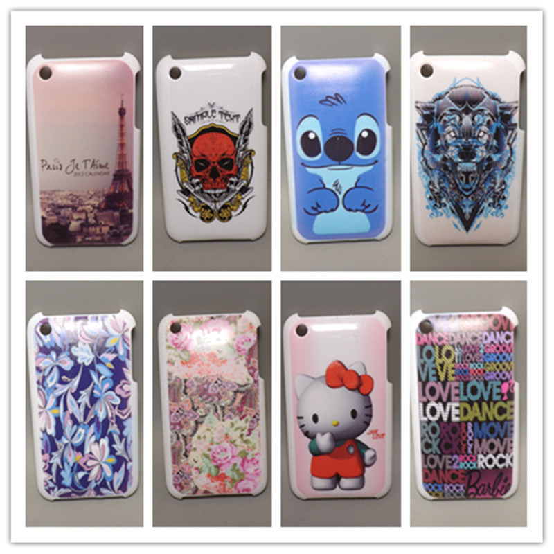 fashion design Rubber Flower Painting Hard Plastic cell Phone Case For Apple iPhone 3 3G 3Gs+Screen Protector()