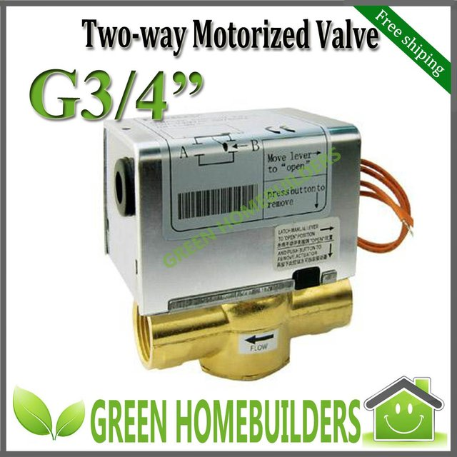 "EMS free 2Pcs/Lot G3/4"" motorized valve 2 way ,220-240VAC 50/60Hz,magnetic hysteresis synchronous motor5RPM,Removable actuator"