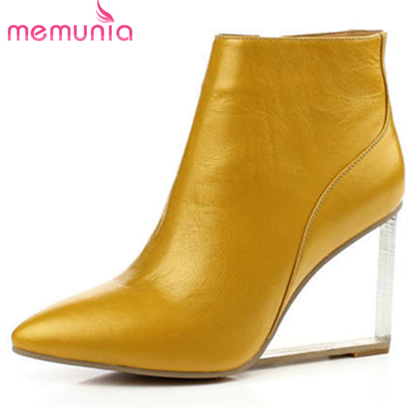 Фотография large size 34-41 high quality autumn winter boots for women pointed  toe  wedges high heel fashiongenuine leather ankle boots