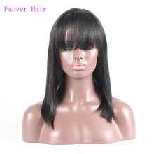 Free Shipping silky straight synthetic hair bob lace front wigs with bangs 1b natural color Handtied Kanekalon Hair Wigs