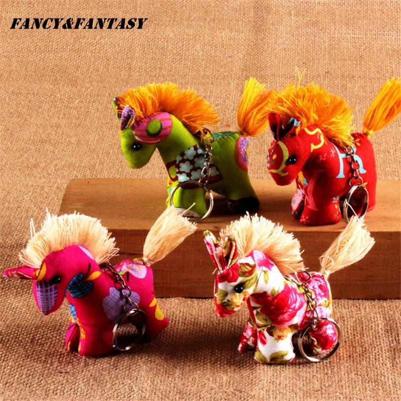 Vintage Handmade Colored Pony Key chain Cloth Jewelry Ethnic Cartoon Colorful Animal 3D Keyring Creative Gift Keychain K-237(China (Mainland))