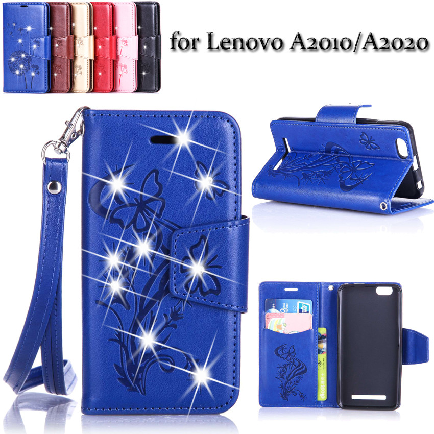 Lenovo A2010 A2010-a A2020 Vibe C Diamond Bling Leather Flip Phone case Lenovo 2010 A2020 Luxury PU+Silicone Back Cover