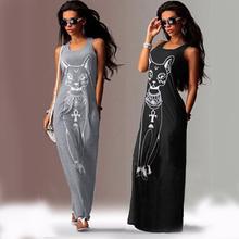 Long Summer Dress Beach Sundress Cat Printed Grey Bodycon Summerstyle Women Dress 2016 Summer Dress Plus Size Summer Maxi Dress(China (Mainland))