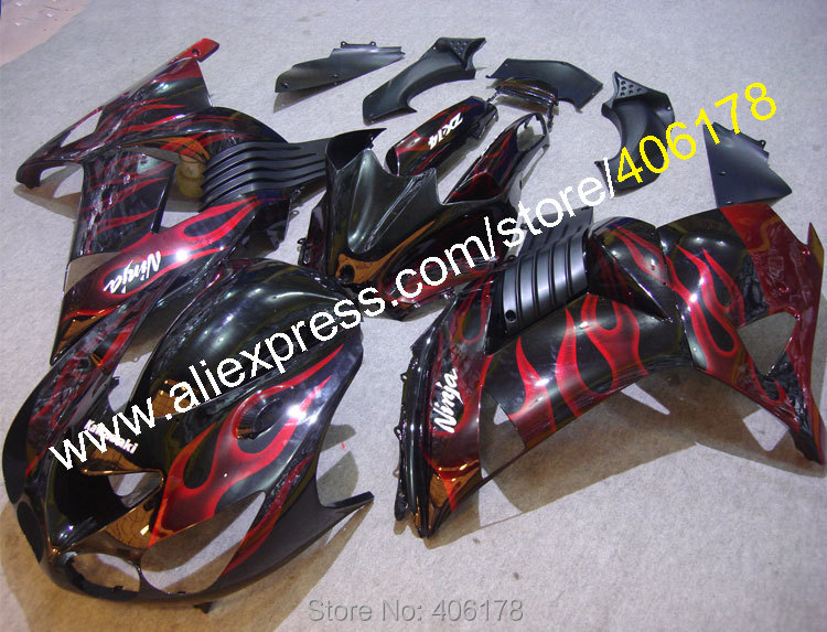 Hot Sales,zzr1400 Fairing For Kawasaki Ninja ZX14R 2006-2011 ZX 14R Red and black Flame Motorcycle Fairings (Injection molding)(China (Mainland))