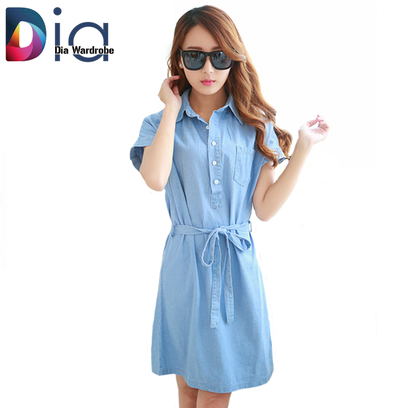 Dia Denim Shirt Dress For Women Clothes Simple Casual Summer Blue Bow Belt Concise Pockets Soft Jeans Short Sleeve Mujer Dress(China (Mainland))