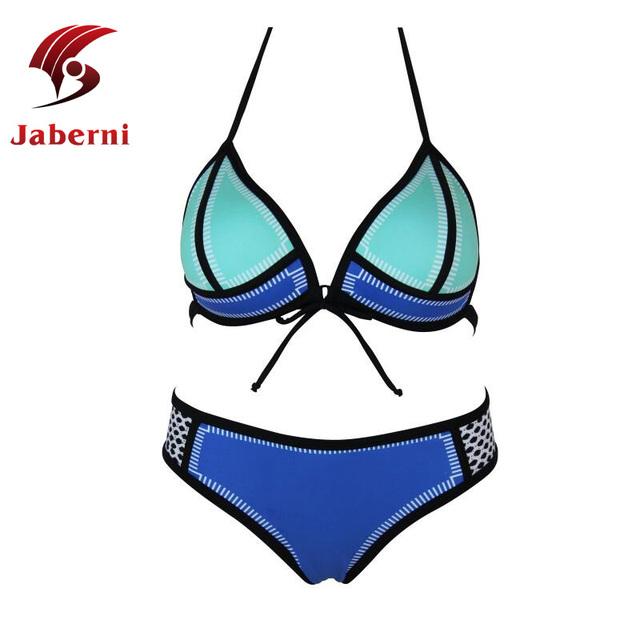 2016 сексуальная неопрена комплект бикини лоскутная женщин купальники высокое качество марка дамы пляж повод ремень сверху и снизу