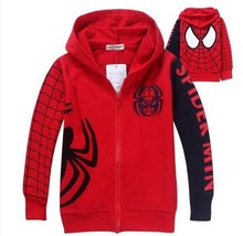 New arrival 2015 Children's Coat Boys Spiderman Embroidered Hoodie Jackets Kids Cartoon Clothes Baby Boys Outerwear(China (Mainland))
