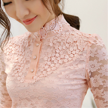 2016 Autumn New lady Slim Pure Lace Pierced Stitching stand Collar Long-sleeved Shirt women blusas plus size 0064(China (Mainland))