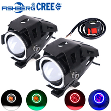 2pcs Motorcycle LED Headlight Fog Light With Switch CREE U7 125W 3000LM Devil Angel Eye DRL Daytime Running Light Spot Lamp(China (Mainland))
