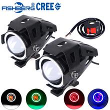 2pcs Motorcycle LED Headlight Fog Light With Switch CREE U7 125W 3000LM Devil Angel Eye DRL Daytime Running Light Spot Lamp(China (Mainland))
