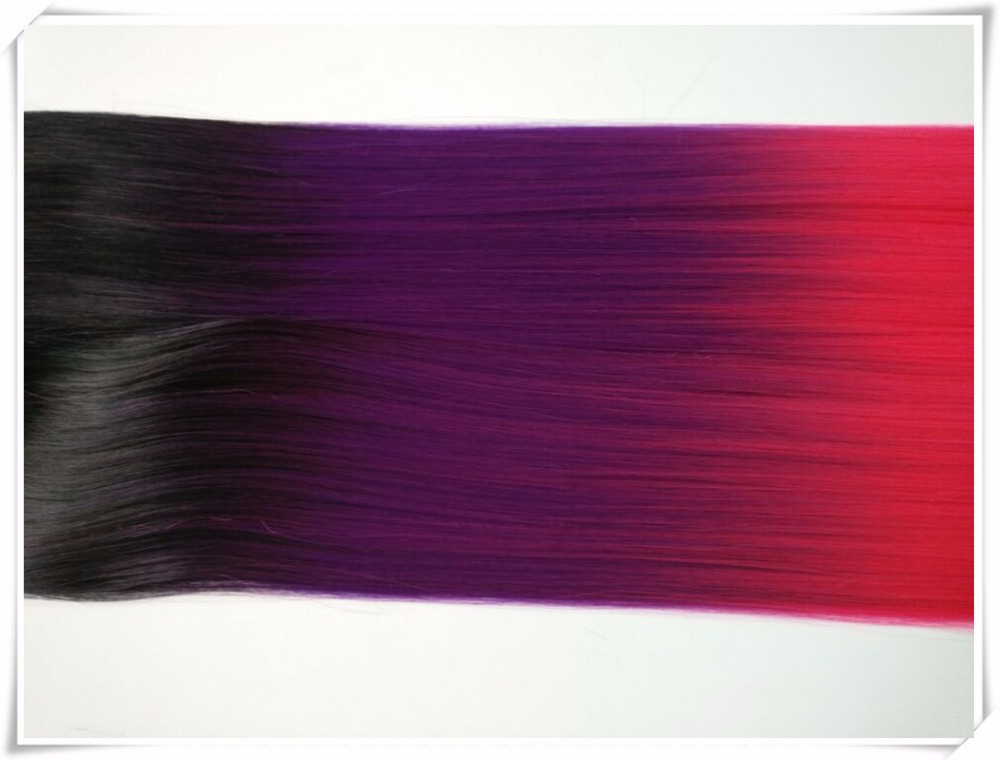 Free shipping 24 inch ombre hair weft weaving 3 toned color synthetic hair weaving Black +Purple + Pink<br><br>Aliexpress