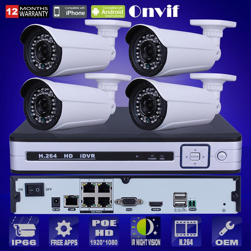 Onvif 1080P HD CMOS Sensor IR IP Camera POE Security Surveillance Kit Email Alarm Plug And Play 4CH NVR POE CCTV System 2TB HDD(China (Mainland))