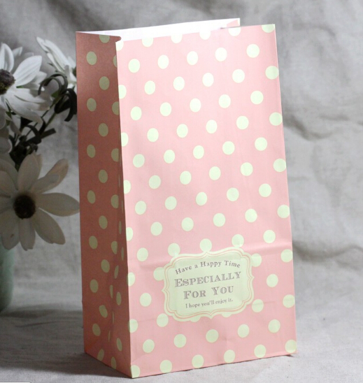 White polka dots pink packaging bag gift paper bags packing decoration party supplies 13 *8 * 23CM(China (Mainland))