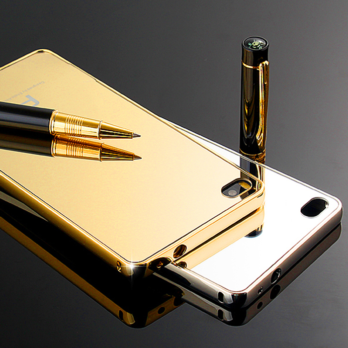 Luxury Armor Gold Aluminum + Mirror Acrylic Back Cover Case Huawei Ascend P8 Lite 5.0 inch - Magni Technology(HK store Co.,LTD)
