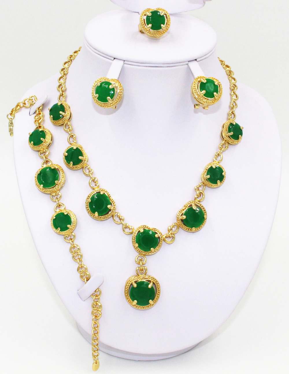 Free shipping! Fashion green African wedding bridal gold-plated jewelry sets, high quality fashion jewelry accessories jewerly(China (Mainland))