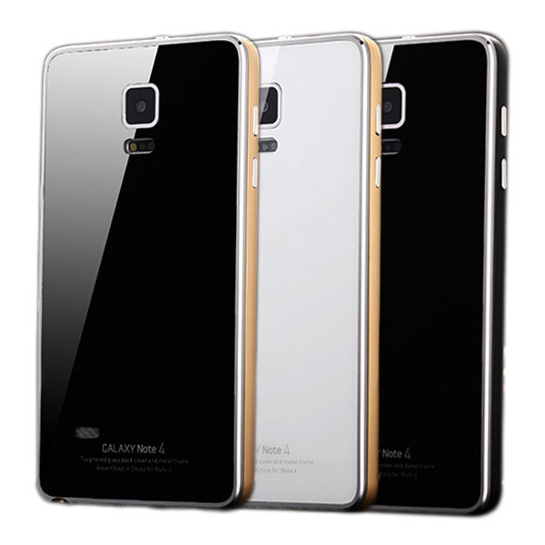Luxury Ultrathin Aluminum Metal Frame Tempered Glass Back Cover Protector Case cover For Samsung Galaxy Note 4 N9100 Phone Bag(China (Mainland))