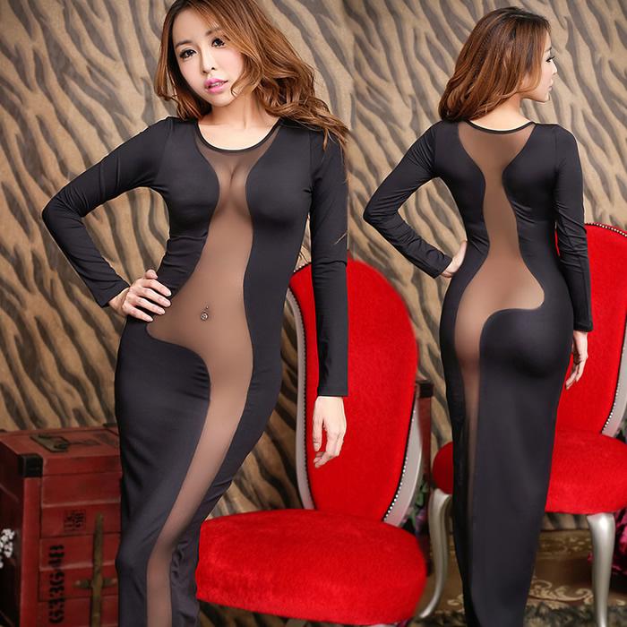Sexy women's full dress welcome ktv evening dress of perspectivity one-piece dress long-sleeve slim hip performance wear(China (Mainland))