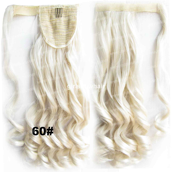 Wrap Ponytail Curl wavy Around Invisible Heat Proof Synthetic HairPiece Pop Pony Colour 60#,BIP888, 22inches 90g 1pc(China (Mainland))