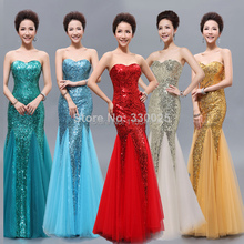 Free Shipping Precedes 2014 new Formal dress tube top fish tail long bride dinner evening dress(China (Mainland))