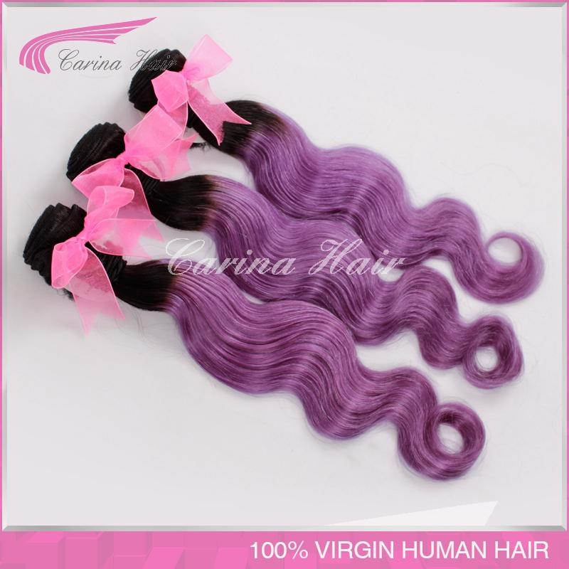 brazilian virgin body wave black and purple ombre hair weaving weft free shipping purple ombre virgin hair extensions 8-30inch<br>