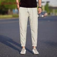 KUANGNAN na co dzień w kratę spodnie do kostek męskie spodnie joggery hip-hopowe spodnie męskie spodnie dresowe japońska moda uliczna męskie spodnie 2019 nowy(China)