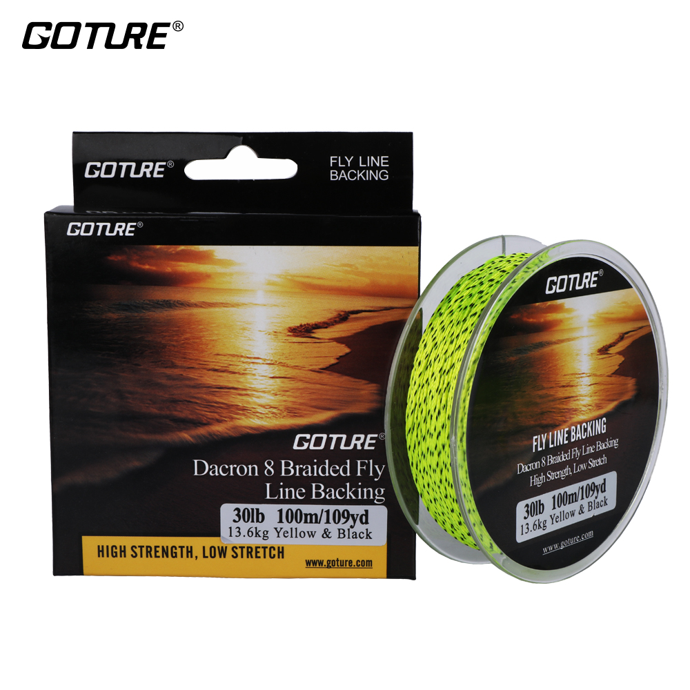 Goture 100M/109Yrd Fly Fishing Backing Line 8 Strands 20LB/30LB Dacron Braided Line Orange/Yellow/White/Double Color Low Stretch(China (Mainland))