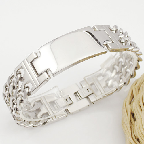 Silver/gold Mens Stainless Steel Double Chain ID Bracelets & bangles Jewellery 2015, Rock Biker PUNK, gift pulseras, WB107 - No.3 Lady Jewelry store