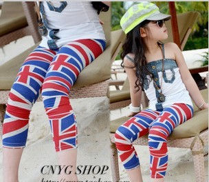 SP-063,5pcs/lot 2013 Factory outlet cotton kid skinny pants fashion girl flag design 3/4 leggings summer child shorts wholesale