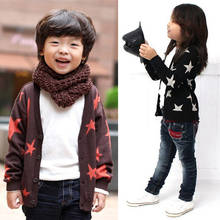 Kids Baby Boy Girl Cotton Star Print Knit Cardigan Sweater Casual Coat Tops 1-6Y (China (Mainland))