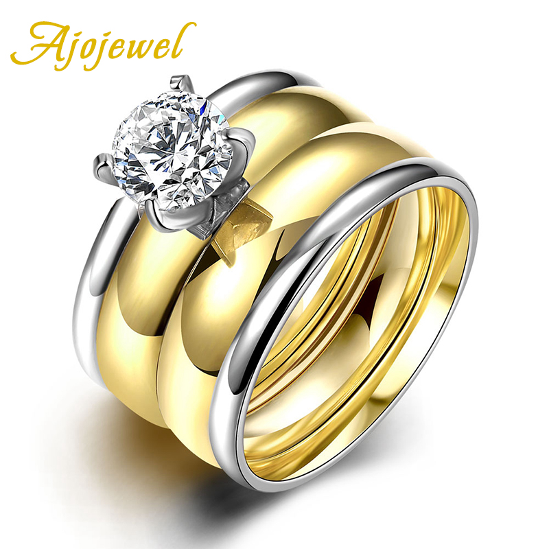 New Arrival European Style Romantic Double Color Stainless Steel Ajojewel Brand Zircon Two Pieces Rings Set For Women Fashion(China (Mainland))