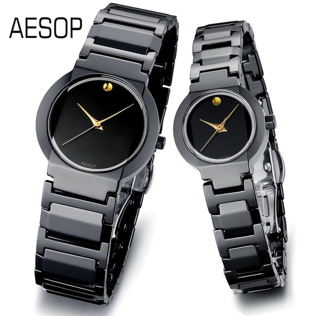 AESOP Fashion Ceramics Watch for men and women Quartz gold analog dial without degree scale Couples Luxury wristwatches 9917