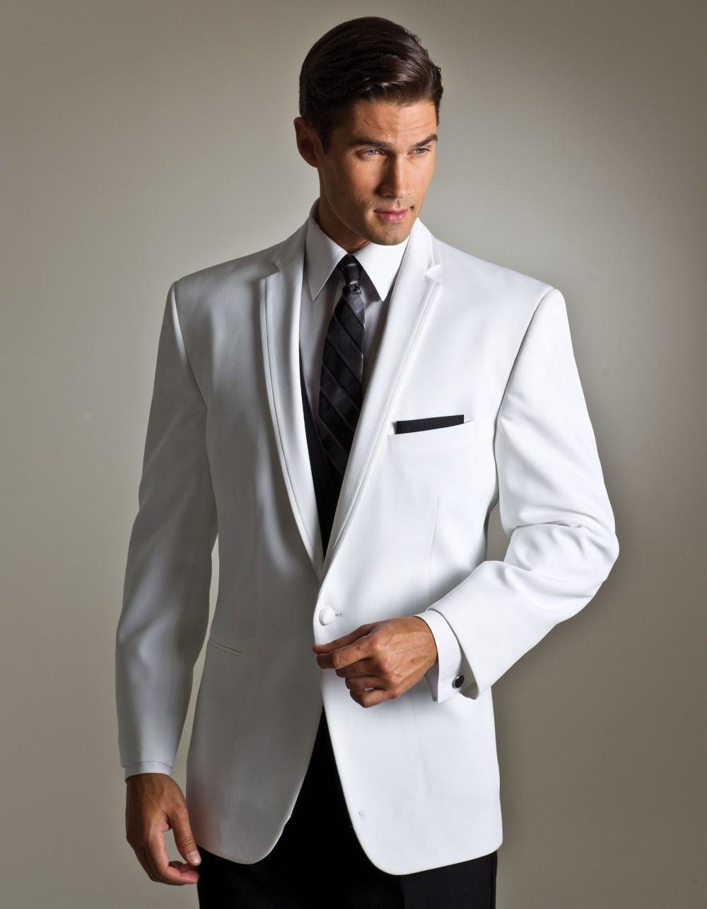 2015 New Arrival Groom Tuxedos White Ivory Wedding Suits For Men Notched Lapel Mens Suits One ...