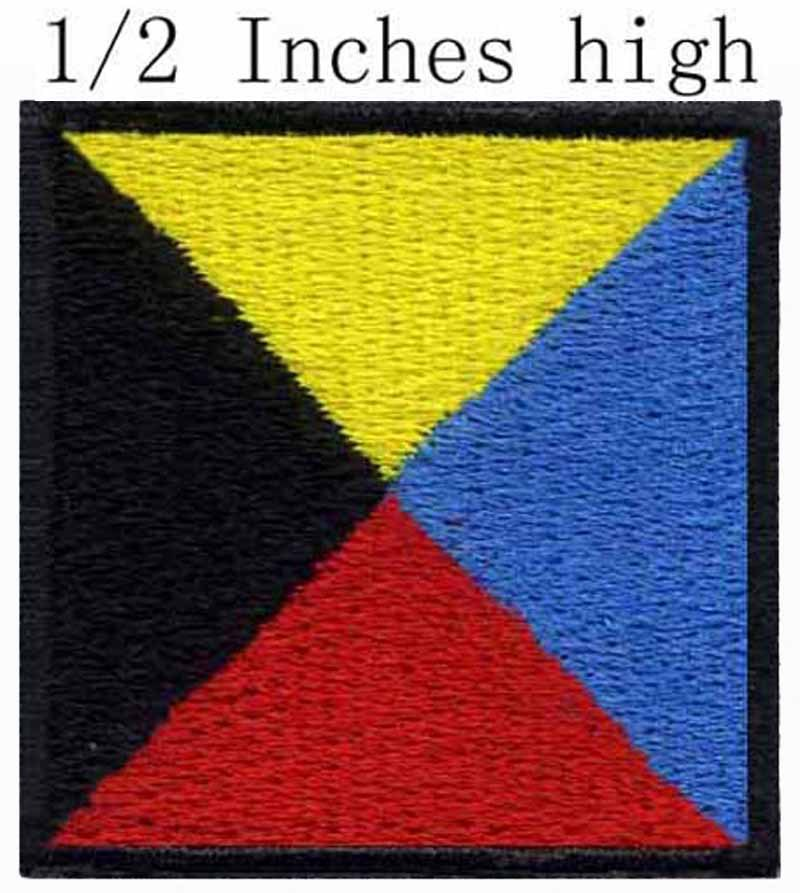 "ICS Zulu Flag embroidery patch 0.5"" high shipping/regular form/Vertex docking/Rubik's cube colors(China (Mainland))"