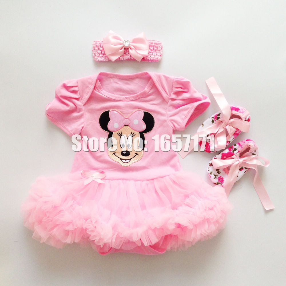 3PCS Sweet Baby Girl Infant Pink Bowknot Minnie Mouse Romper Photo Prop Jumpsuit Tutlle Dress Outfits 0-12M(China (Mainland))