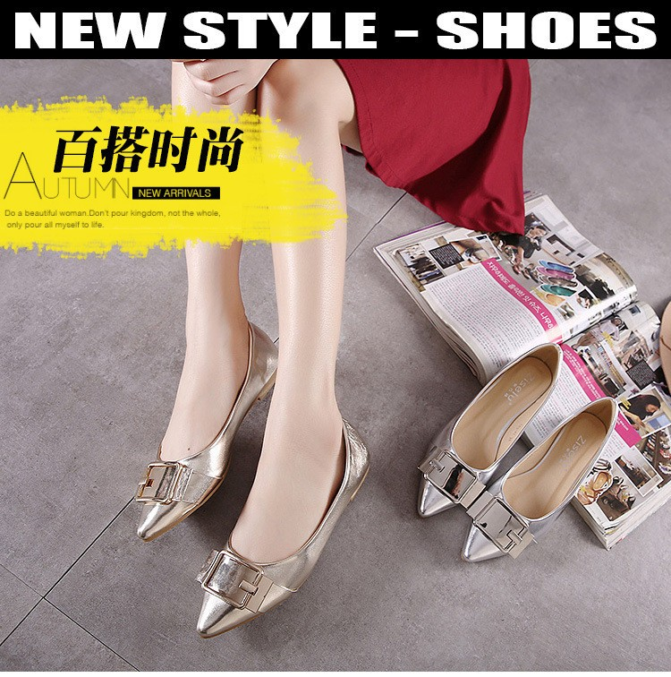 2016 Pointed Toe Women Flats Pu Leather Soft Sole Shoes Metal Buckle Flats Shoes Sequins Gold Silver Dress Flat Zapatos