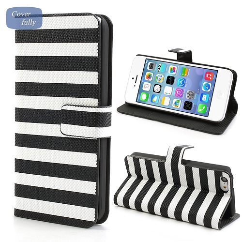 Horizontal Stripe Leather Stand Case for iPhone 5C Phone Bag with Card holder - White / Black(China (Mainland))