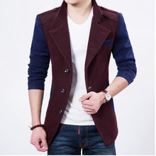 Mens Fashion Pea Coats 2016 New Luxury Brand Wool Mens Winter Overcoat High Quality Turn Collar Patchwork Slim Peacoats For Men(China (Mainland))