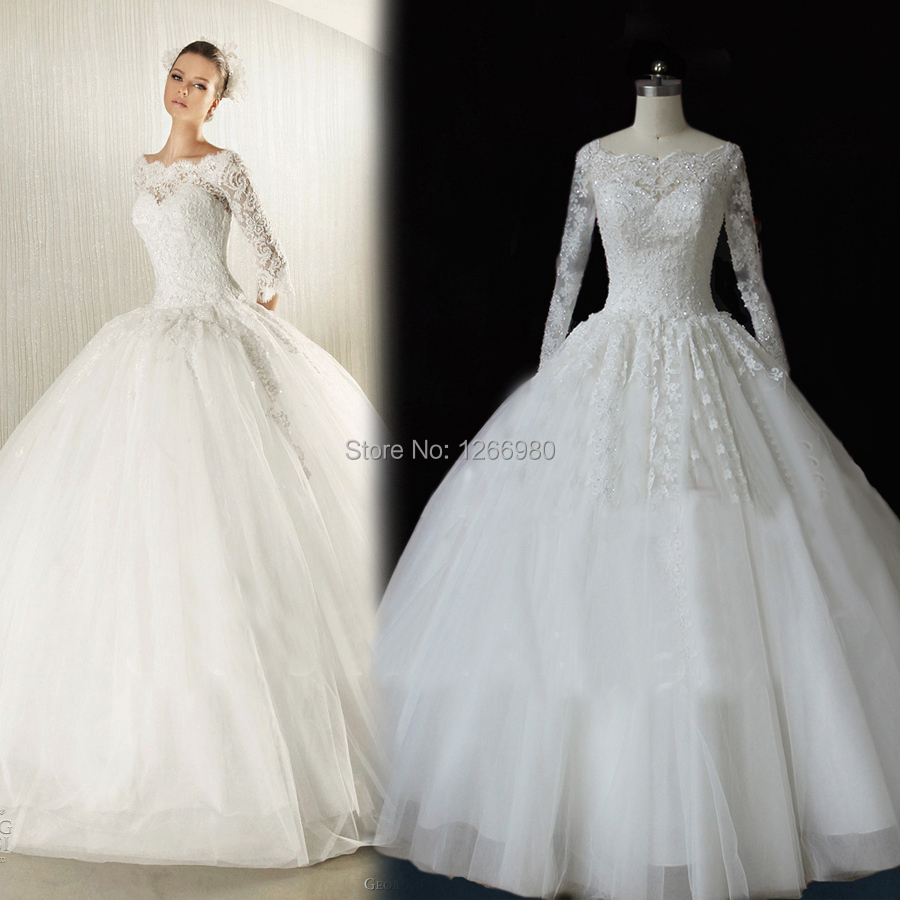 Princess sequin lace applique chapel train sheer ball gown for Long sleeve sequin wedding dress