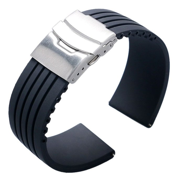 18mm 20mm 22mm 24mm Universal Link Bracelet Rubber Silicone Watchband Wrist Strap Soft Waterproof For Men