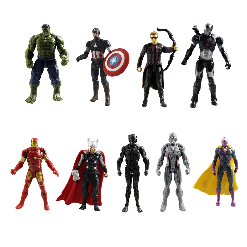 9pcs Avengers Vs. Ultron Marvel Hawkeye Hulk Iron Man Captain Mini Kids Display Figurines Set Action Figure Collectible DC001052(China (Mainland))