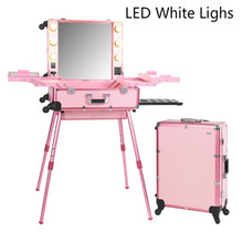Pink LED White Light Rolling Studio Makeup Artist Cosmetic Box With Light Leg Mirror Train Table Beauty Case with Bulbs 2016 NEW(China (Mainland))