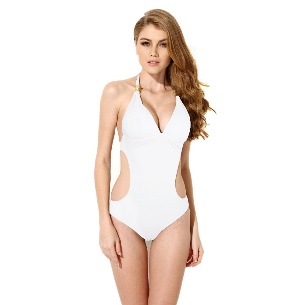 Free shipping 2015 Colloyes sexy White bikini Siamese / metal decorative one swimsuit(China (Mainland))