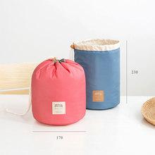 New Arrival Travel Cosmetic Bag Barrel Shaped Nylon High Capacity Drawstring Elegant Drum Wash Bags Makeup Organizer Storage Bag(China (Mainland))
