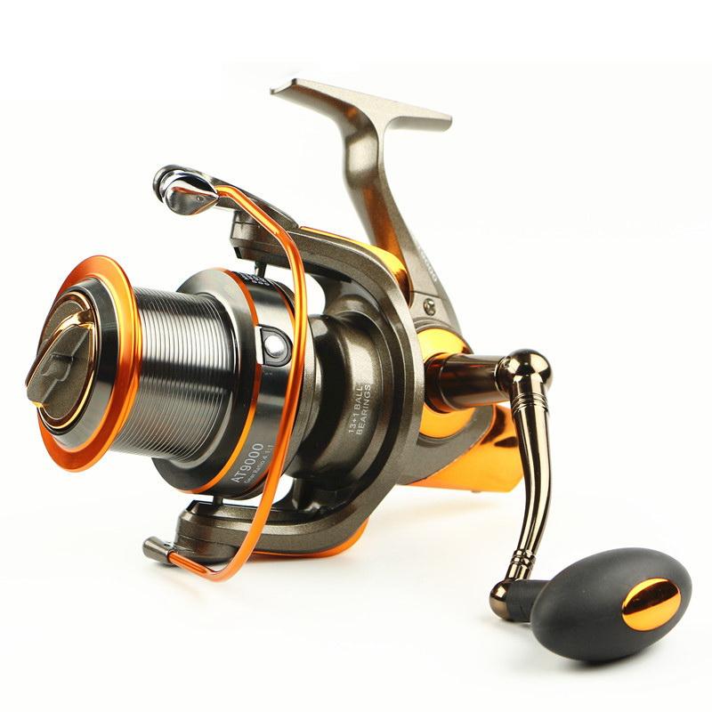 New Gapless Spinning Fishing Reel 14BB CNC Metal Rocker Saltwater Gear 4.6:1 Molinete Pesca Distant Wheel Sea Fishing Reel(China (Mainland))