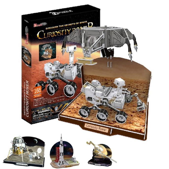 T0480 3D Puzzles Voyager space probe,Curiosity Rover,Apollo Lunar Module,Saturn V DIY Paper Model kids Educational toys(China (Mainland))