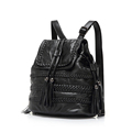 Genuine Leather Knitting Backpack Women 2016 New Sheepskin Drawstring Flap Bag Solid Color Woven Pattern Preppy
