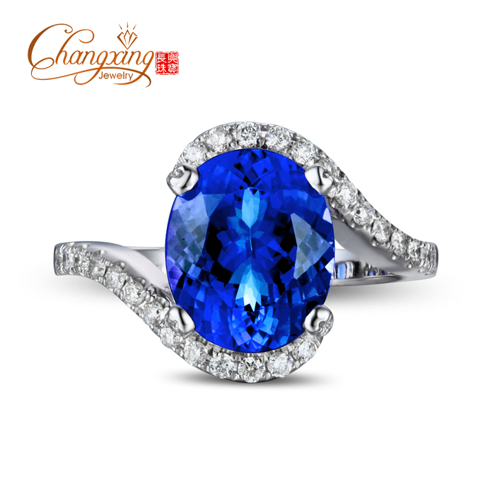 4.3ct Violet Blue AAAA Tanzanite Full Cut Diamond 14k Gold Engagement Wedding Ring<br><br>Aliexpress