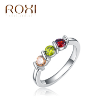 ROXI Delicate White Gold plated Color Micro-Inserted Jewelry for women/men,High Polish Wedding band Classic rings
